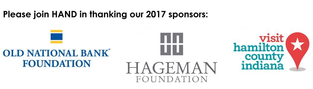 HAND's 2017 Sponsors: Old National Foundation, Hageman Foundation, Hamilton County Tourism
