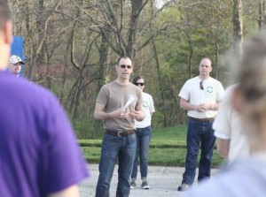 HAND Executive Director Nate Lichti speaking at Keep Fishers Beautiful work day, April 2015