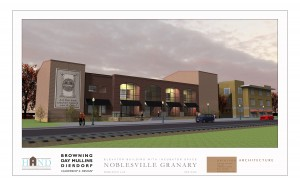 Noblesville Granary south east with graphic